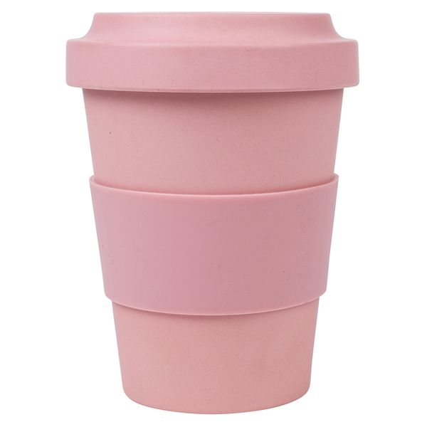 Small pink bamboo travel coffee cup