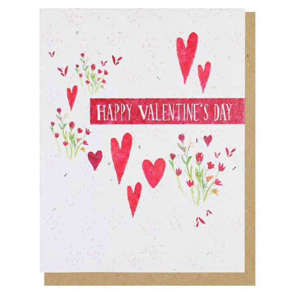 Floral hearts seed Valentine's Day card