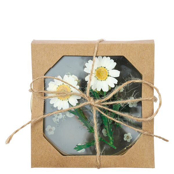 Pressed flowers coasters - set of 4