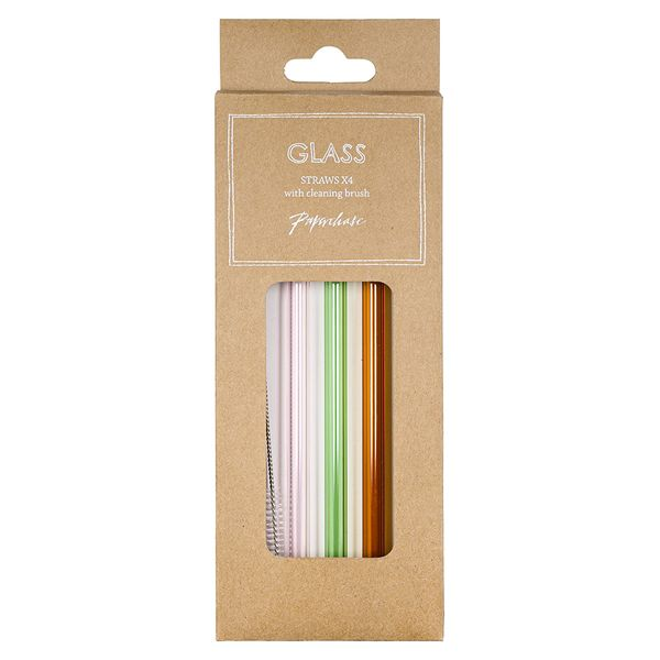 Glass reusable straws and cleaning brush