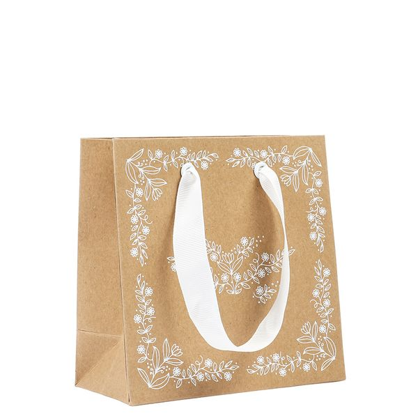 Small Kraft white floral gift bag