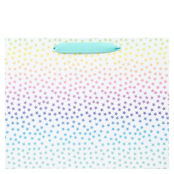 Large ombre pastel star gift bag