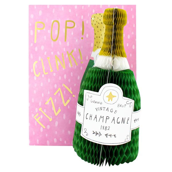 3D champagne bottle birthday card