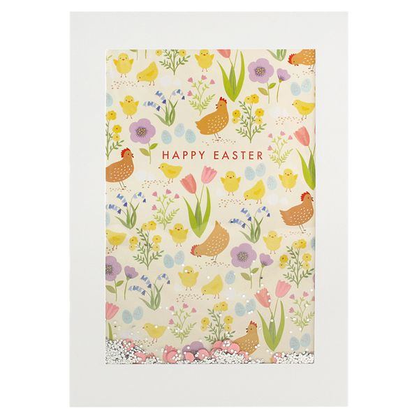 Large chickens confetti Easter card