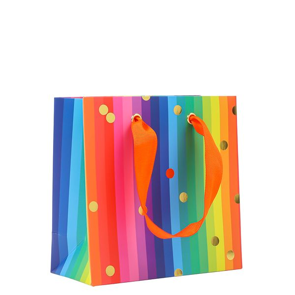 Small rainbow dot gift bag