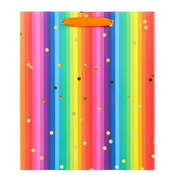 Large rainbow stripe gift bag