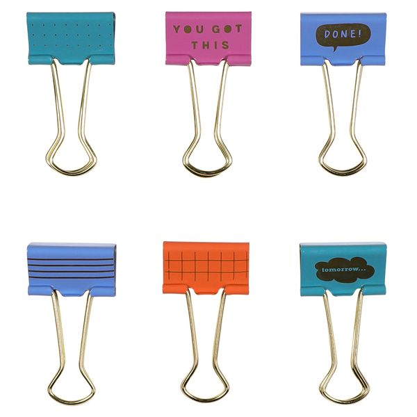 Slogan binder clips - pack of 6