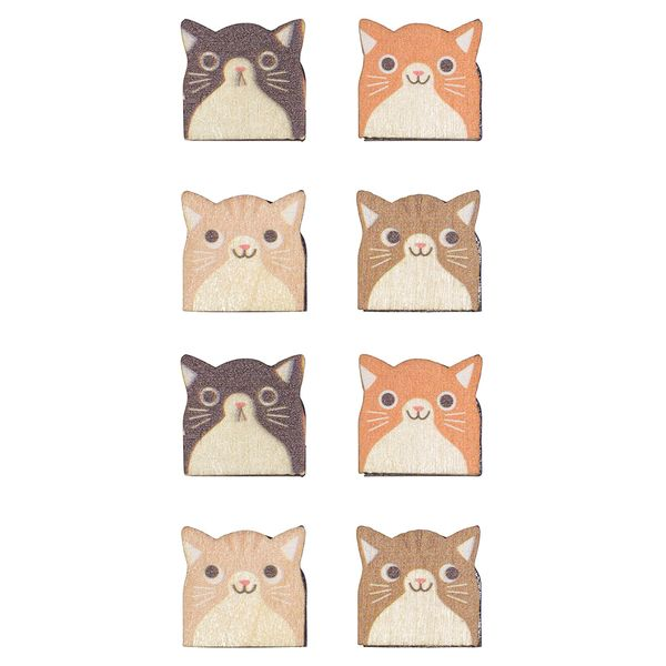 Wooden cat magnets - pack of 8