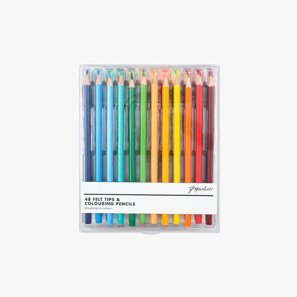 Felt tips and colouring pencils - pack of 48