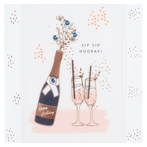 Champagne and Flutes Birthday Card