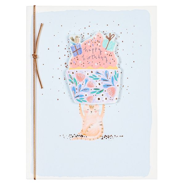 Cat with cupcake happy birthday card