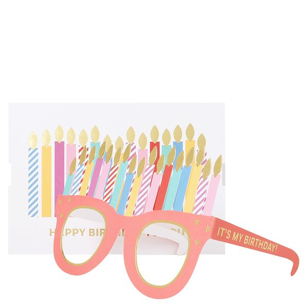 Candle glasses pop out birthday card