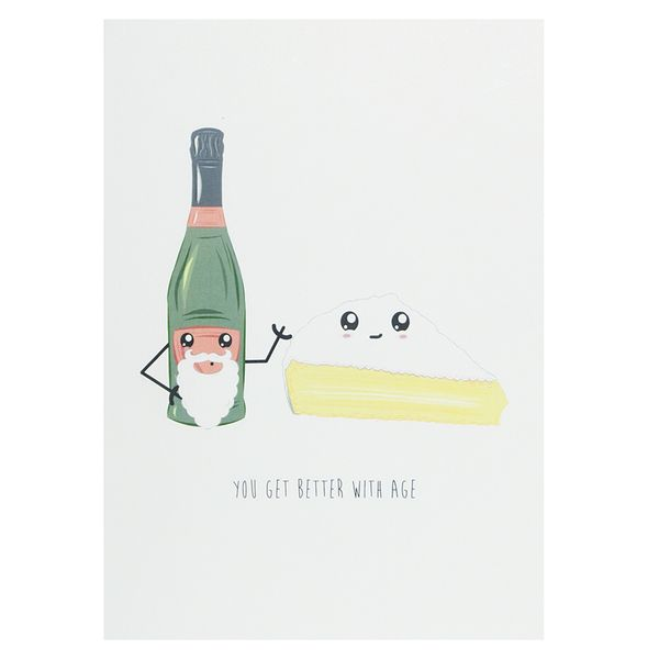 Better with age wine & cheese birthday card