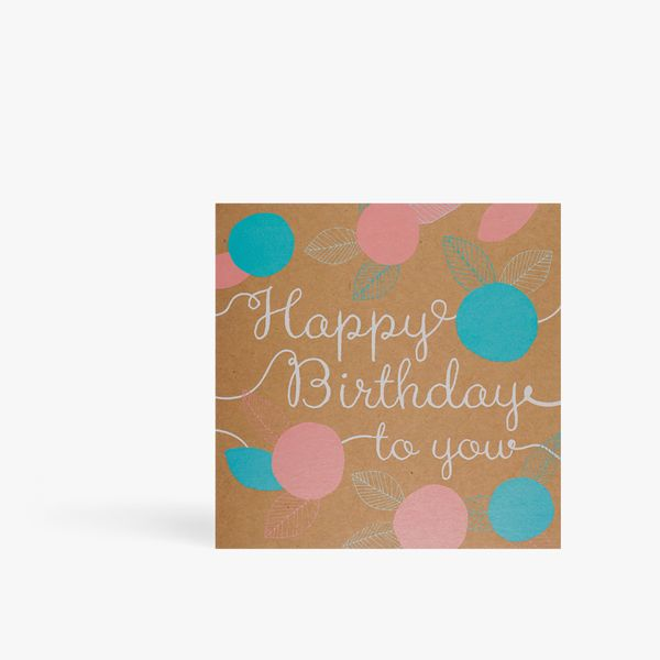 Pastel pink and blue happy birthday card