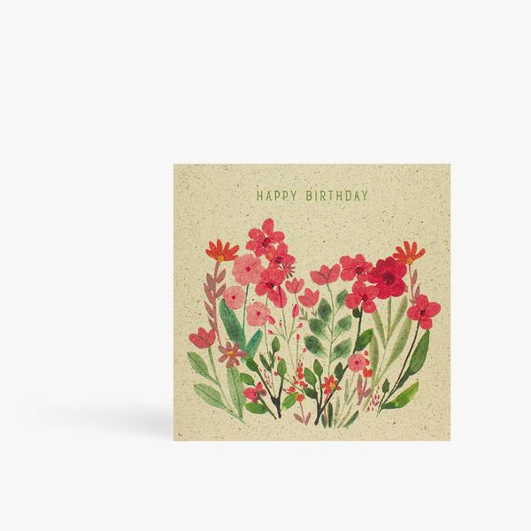 Pink meadow floral happy birthday card
