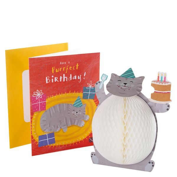 Pop out honeycomb cat purrfect birthday card