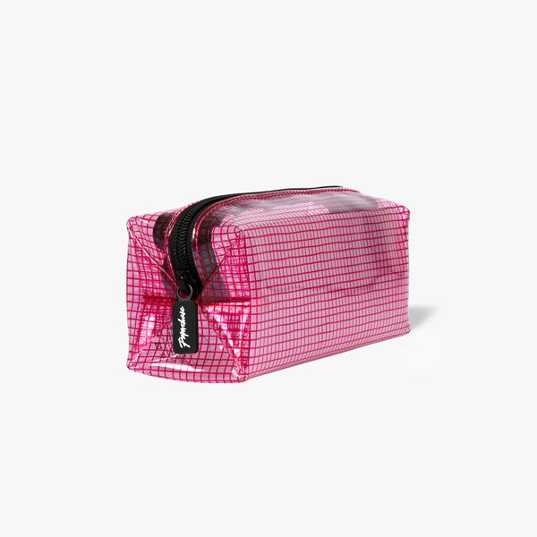 Neon Pink Clear Grid Pencil Case