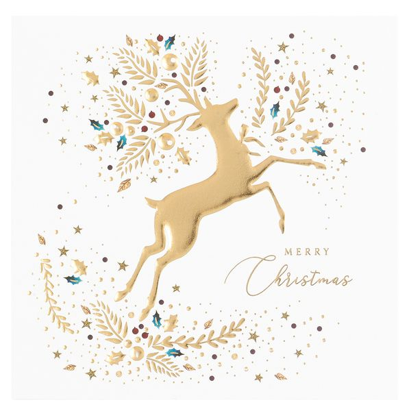 Gold deer Christmas cards - pack of 6