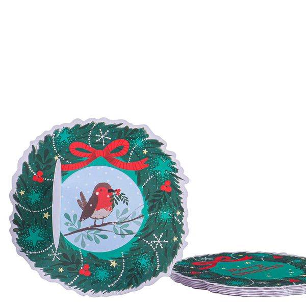 Christmas wreath with robin Christmas cards - pack of 6