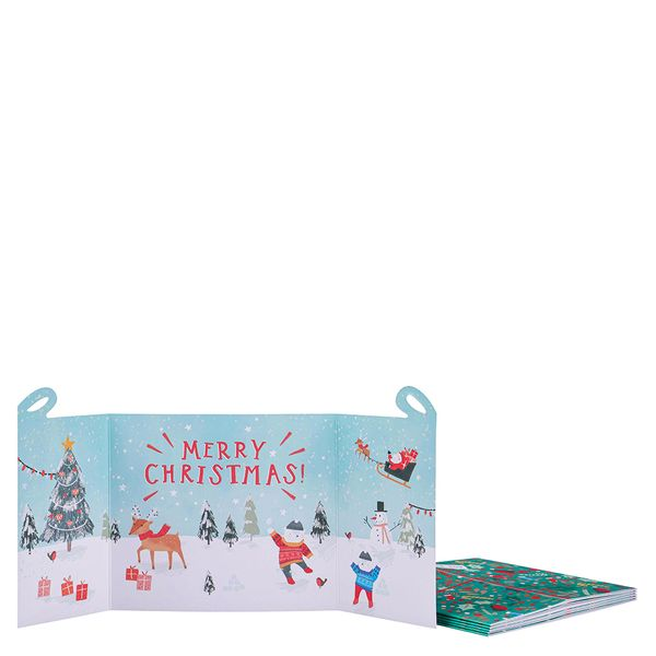 Fold out present Christmas cards - pack of 6
