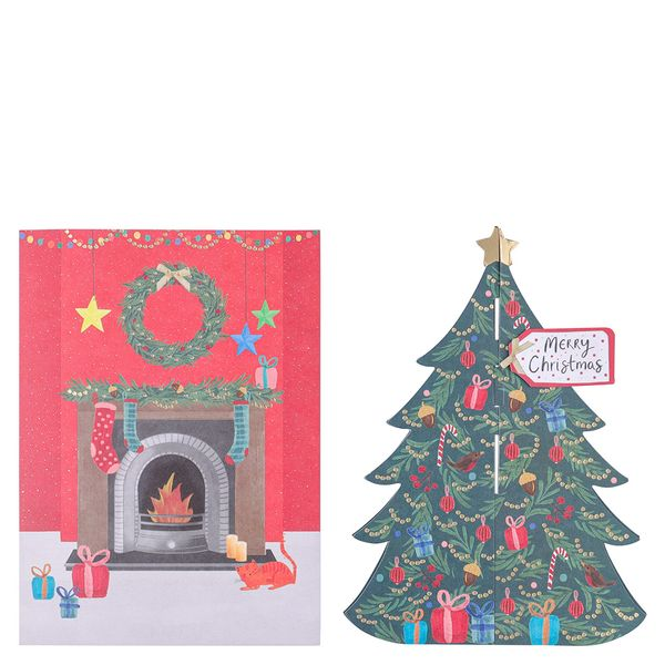 Fold out house and tree Christmas cards - pack of 8