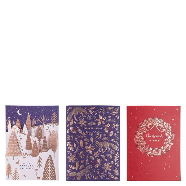 Copper foil Christmas cards - pack of 12