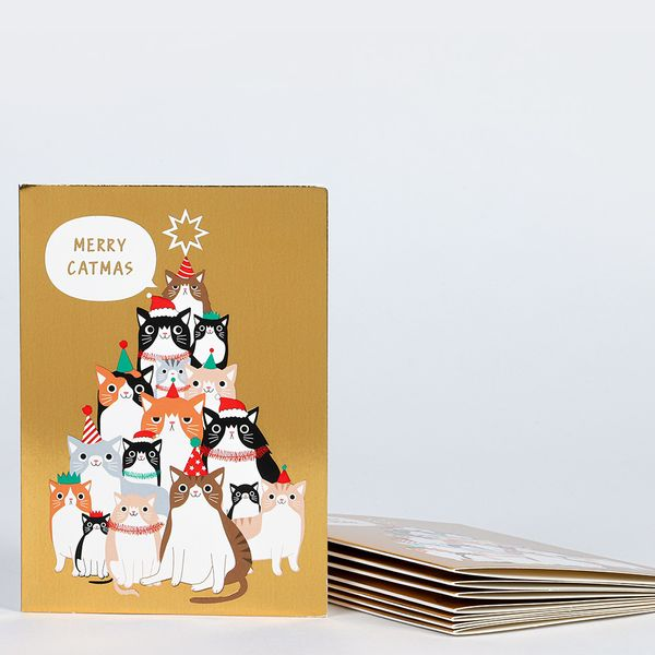 Merry cat-mas Christmas cards - pack of 8