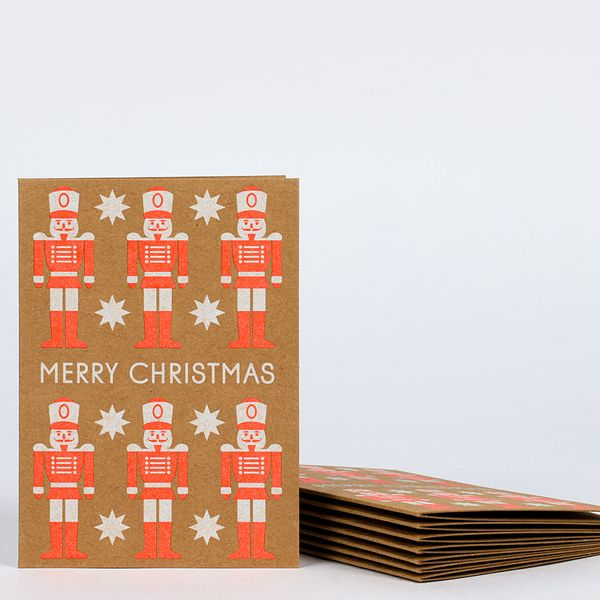 Neon nutcracker Christmas cards - pack of 8