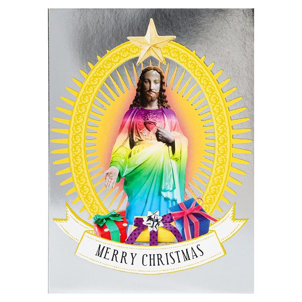 Holographic Jesus Christmas cards - pack of 8
