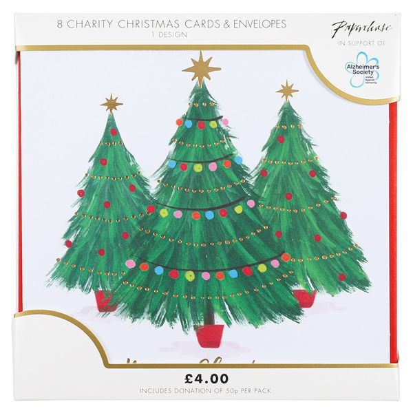Brush Christmas trees charity Christmas cards – pack of 8