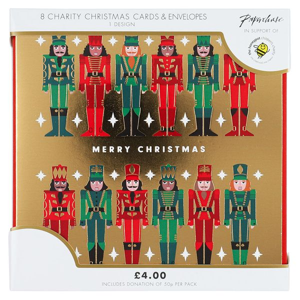 Gold Nutcracker charity Christmas cards – pack of 8
