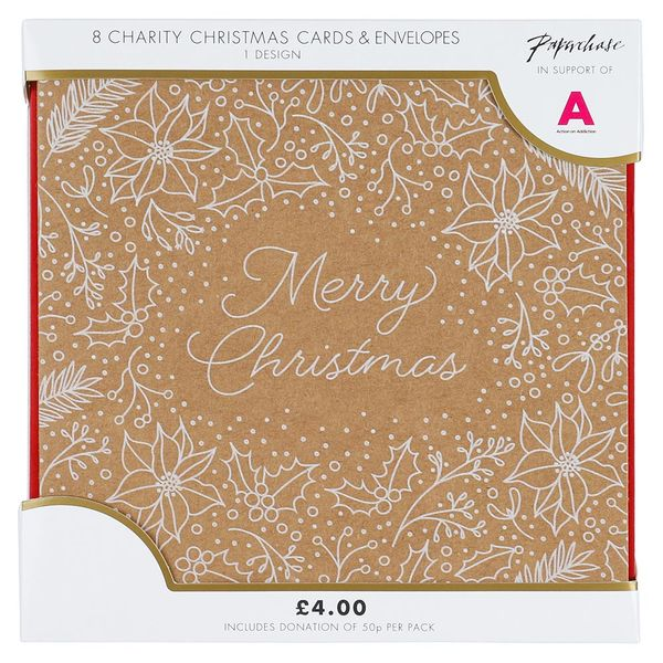 Kraft Merry Christmas Foliage charity Christmas cards – pack of 8