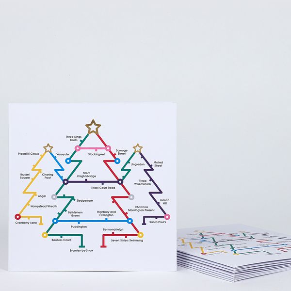 Tube Map Trees charity Christmas cards – pack of 8