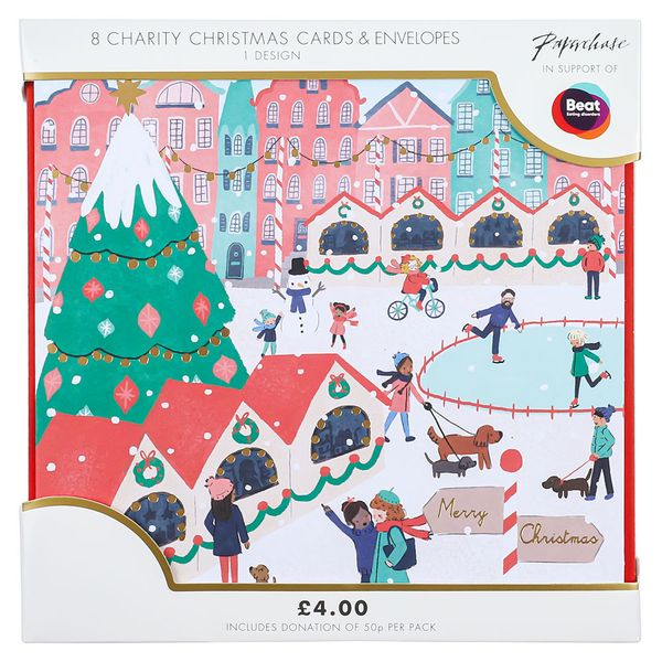 Christmas market scene charity Christmas cards – pack of 8