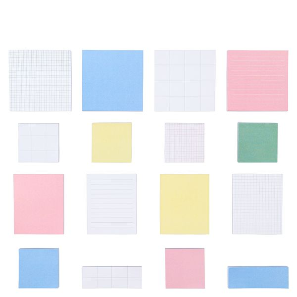 Muted square sticky notes set