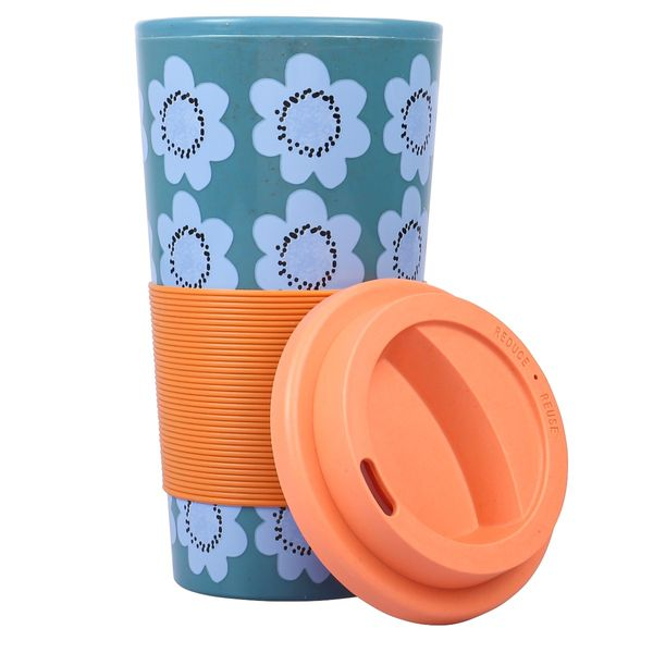 Blue floral bamboo coffee cup