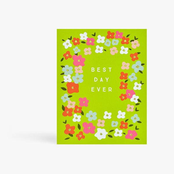 Green floral best day ever card