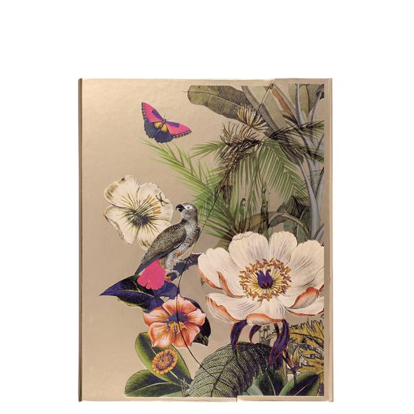 A5 Magnetic Tropical Flowers Gold Notebook