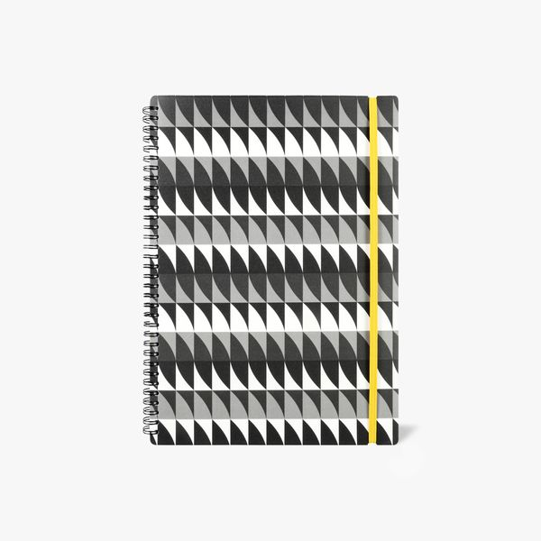 A4 black and white geo ruled notebook
