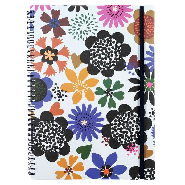 A4 bold flowers ruled notebook