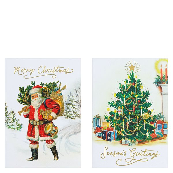Traditional Santa tree Christmas cards - pack of 10