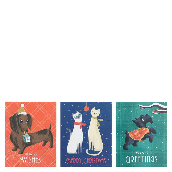Vintage dog and cats Christmas cards - pack of 12