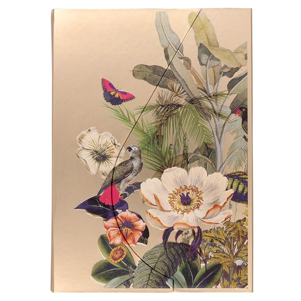 A4 Magnetic Tropical flowers Gold Notebook