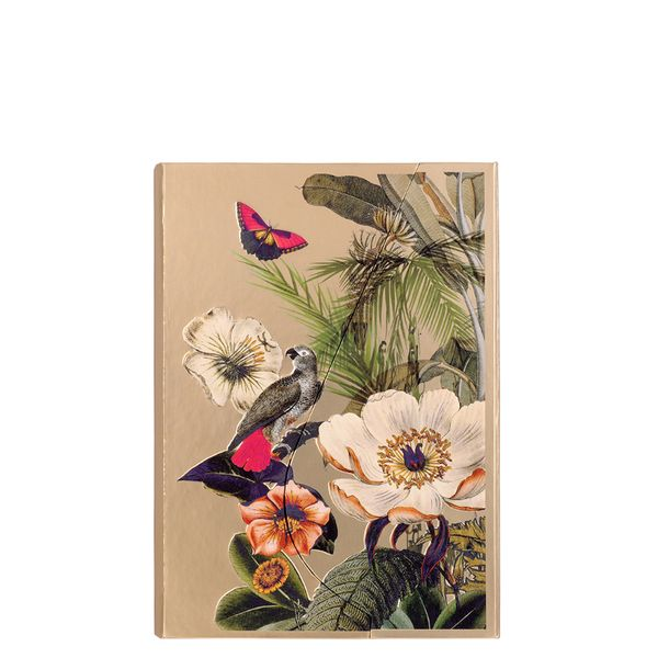 A6 Magnetic Tropical flowers Gold Notebook