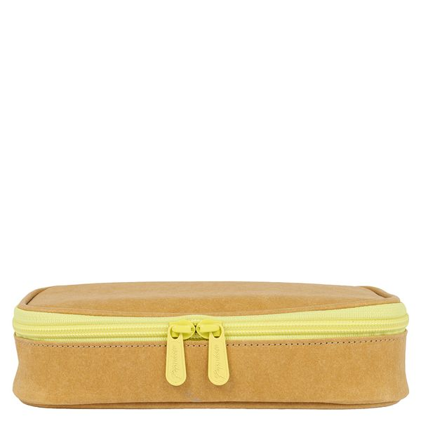 Kraft Multi Compartment Yellow Pencil Case