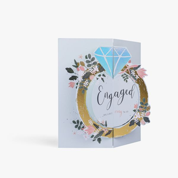 Pop up ring engagement card