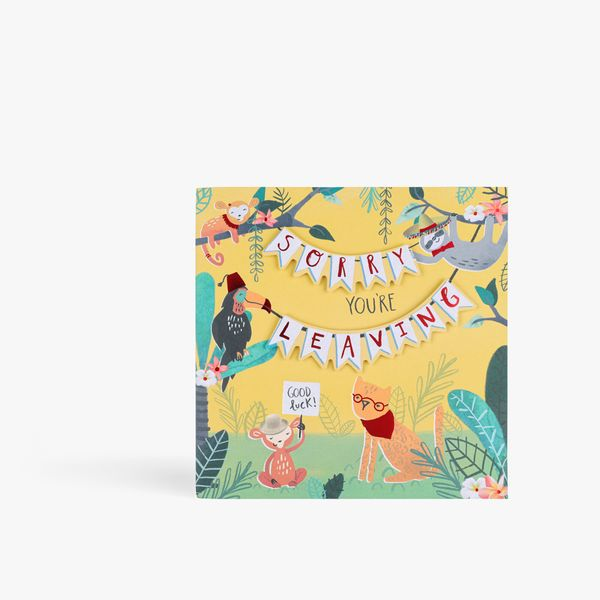 Jungle animals sorry you're leaving card