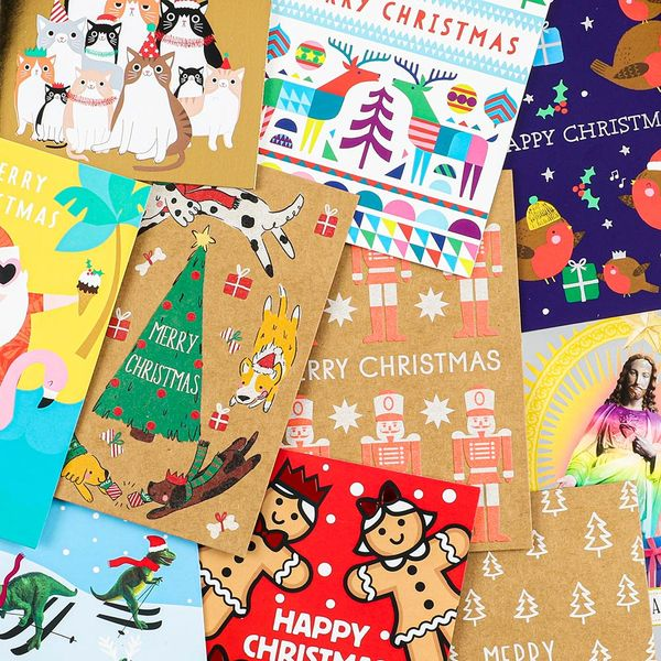 Small assorted designs Christmas cards - pack of 24