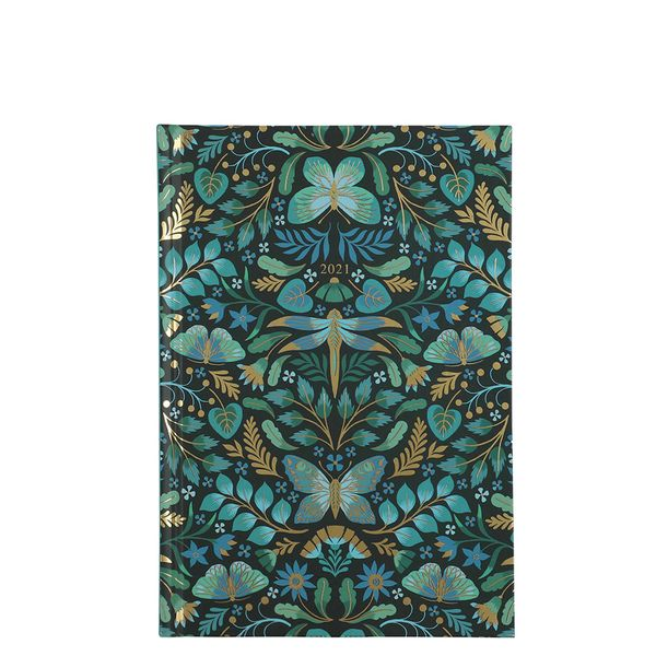 A5 Green Foil Butterfly 2021 diary