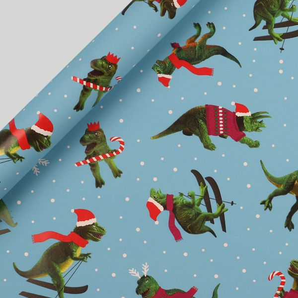Skiing dinosaurs Christmas wrapping paper - 5m